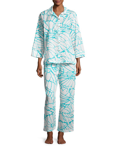 Abstract Butterfly Pajama Set, White