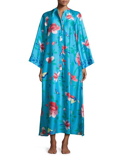 Manila Floral-Print Zip Caftan, Blue, Plus Size