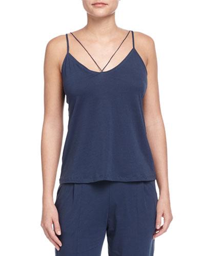 String Jersey Knit Camisole, Azure
