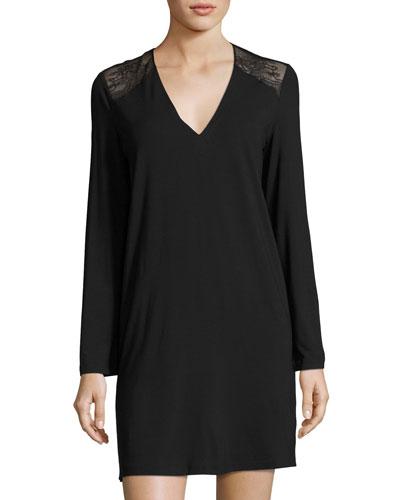 Romance Lace-Trim Sleep Shirt, Black