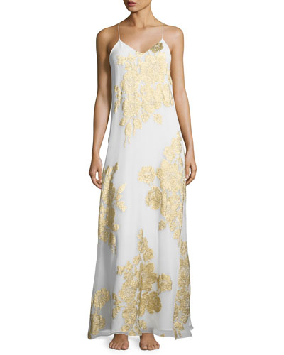 Racerback Floral-Print Nightgown, Gold