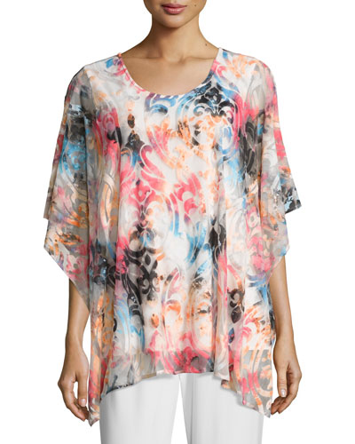 Pink Sky Burnout Caftan-Style Top, Plus Size