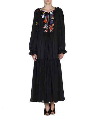 Floral-Embroidered Silk Caftan Dress, Black