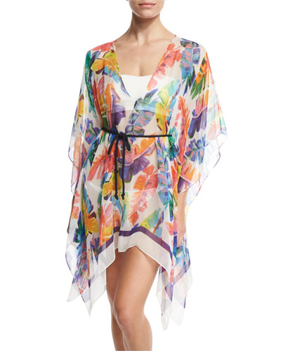 Banana Leaf Chiffon Caftan Coverup, Multicolor