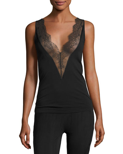Wool-Blend Lace-Trim Tank Top, Black