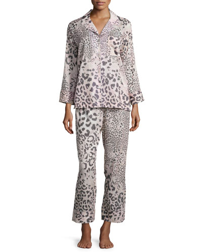 Animal-Print Cotton Pajama Set, Light Pink/Natural