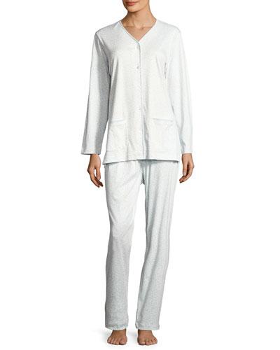 Pink Leopard Pajama Set, Blue