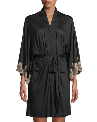 Quick Look. Josie Natori · Charlize Lace-Trim Short Robe. Available in Black 5e18661fc