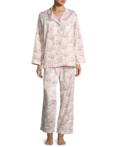 Floral-Print Classic Pajama Set, Spring Bloom