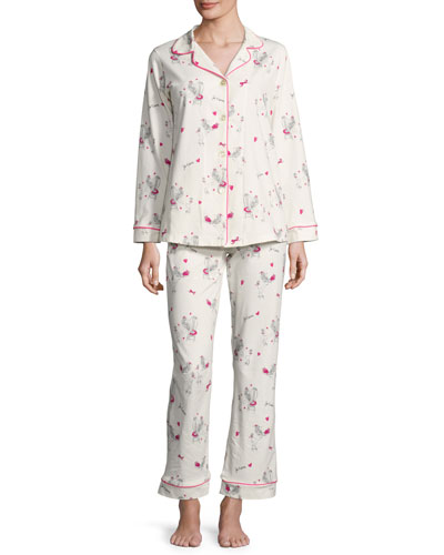 Fifi Long-Sleeve Printed Pajama Set, White Pattern, Plus Size