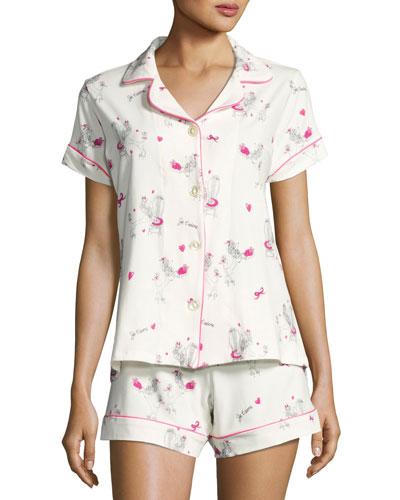 Short-Sleeve Print Shortie Pajama Set, Fifi