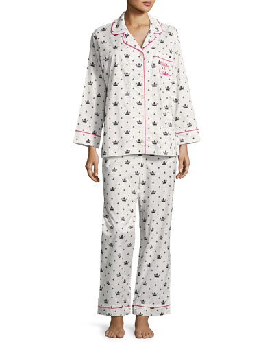 Queen Long-Sleeve Pajama Set, White/Black, Plus Size