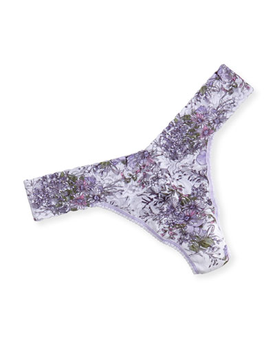 Violet Spray Signature Lace Original-Rise Thong, Multi