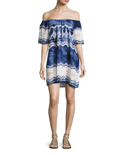 Designer Jeans Tie-Dye Lace-Trim Off-the-Shoulder Mini Dress, Blue