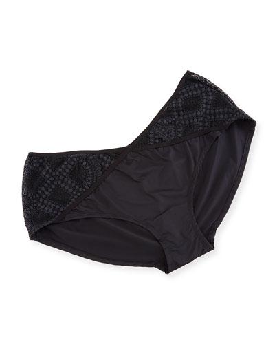 Hayworth Lace-Inset Hotpants, Black