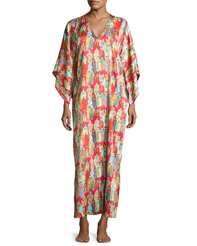 Dynasty Pearl-Print Long Caftan, Red