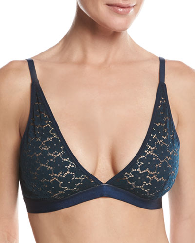 Organic Cotton-Blend Lace Bralette, Navy