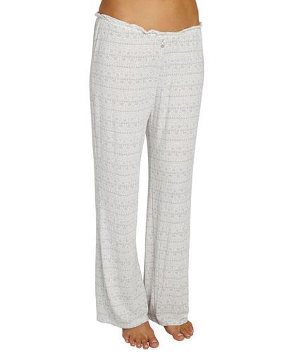Encajes Printed Wide-Leg Lounge Pants