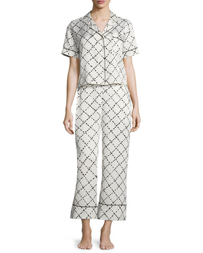 faux-quilted print pajama set, white