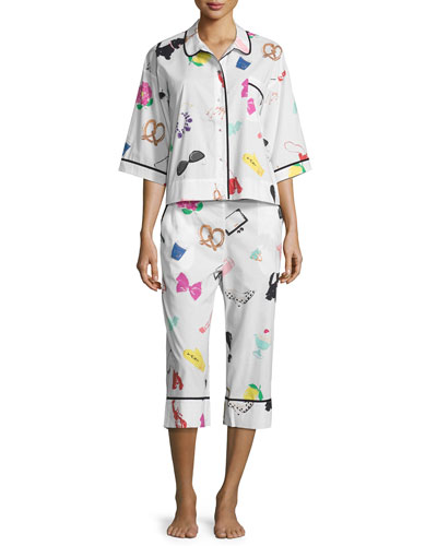 printed cropped two-piece pajama set, multi pattern