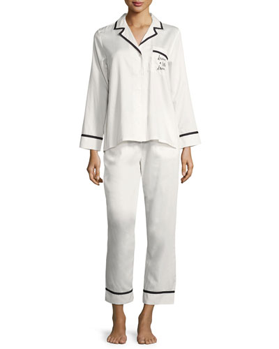 dream a little dream long pajama set, white