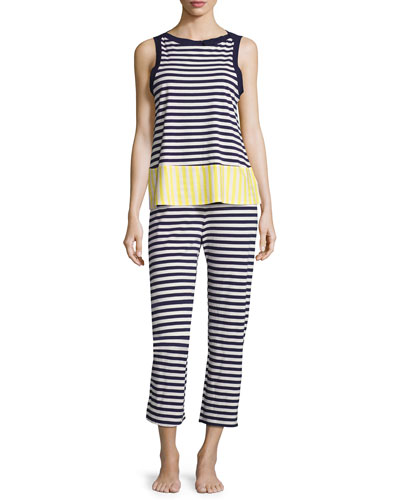 striped two-piece pajama set