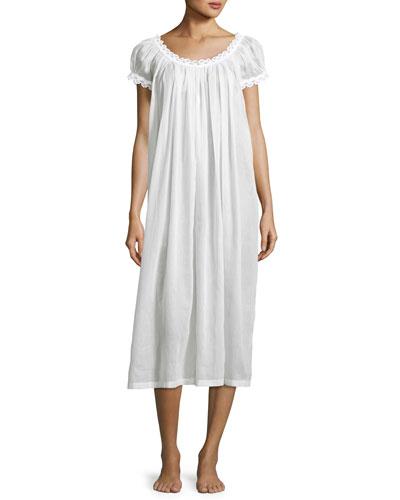 Jule Cap-Sleeve Long Nightgown, White