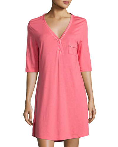 Jersey Half-Sleeve Sleepshirt, Pink/Orange