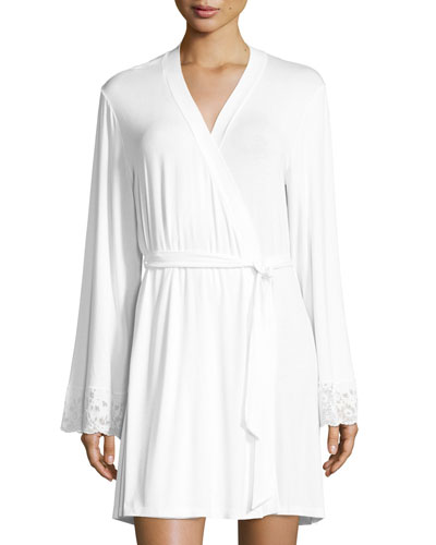 Jersey-Knit Lace-Cuff Robe, White