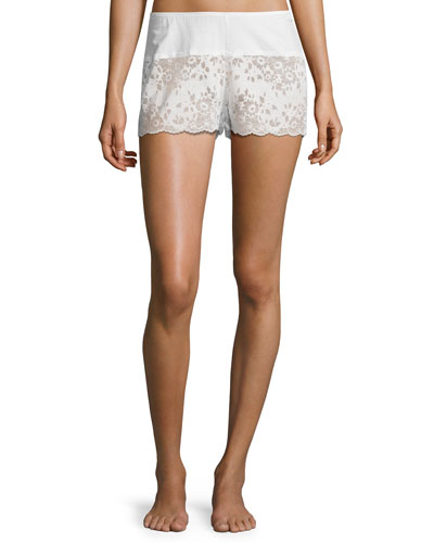 Lace Boxer Lounge Shorts, White