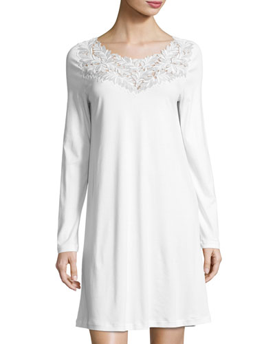 Frida Long-Sleeve Nightgown, White