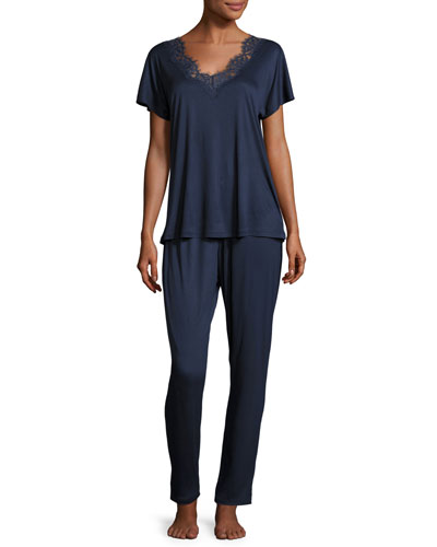 Livia Lace-Trim Pajama Set