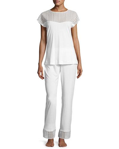 Mathilde Jersey Pajama Set, Off-White