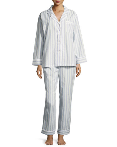 Periwinkle Maypole Long-Sleeve Classic Pajama Set, Light Blue
