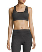 Mesh Behavior Strappy-Back Sports Bra, Heather Gray