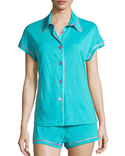 Bella Cap-Sleeve Shortie Pajama Set, Blue/Pink