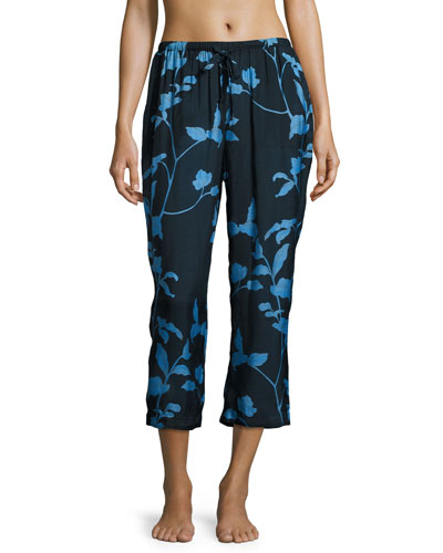 Floral-Print Pajama Cropped Pants, Multi Pattern