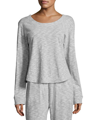 Long-Sleeve Lounge Top, Light Gray