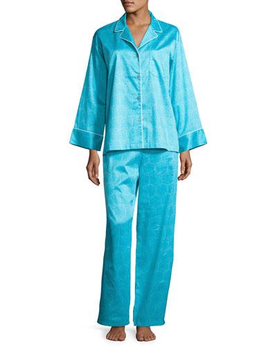 Fan Cotton Two-Piece Pajama Set, Turquoise