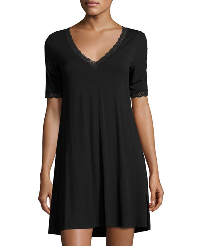 Feathers Lace-Trim Sleepshirt, Black