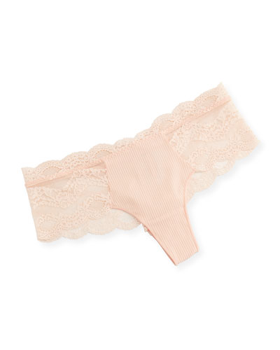 Insaisissable Lace-Trim Boy-Leg Briefs, Pink/Orange