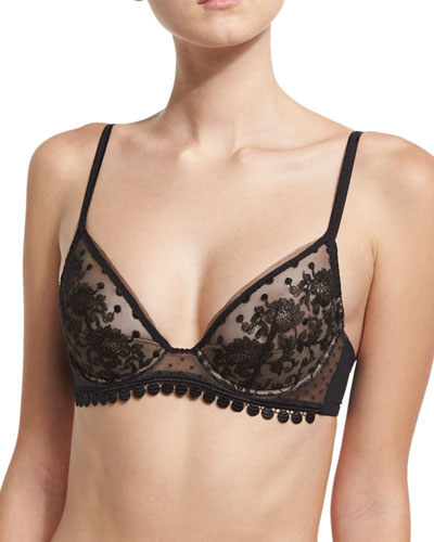Baisers de Paris Half-Moon Triangle Bra, Black