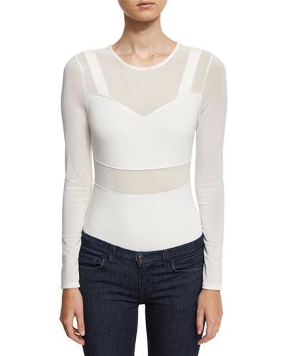 Bralette Mesh Thong Bodysuit, White