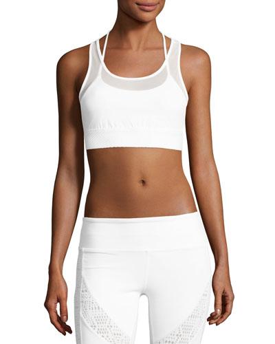 Glare Layered Sports Bra, White