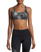 Chic Floral-Print Low-Impact Sports Bra, Black Multipattern