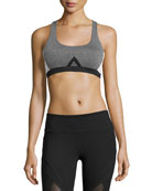 Allegiance Colorblock Mesh-Back Sports Bra, Gray/White