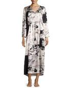Yuzen Floral-Print Silk Caftan, Multi Pattern