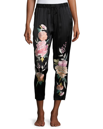 Lola Floral-Embroidered Silk Lounge Pants