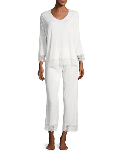 Rainbow Sapphire Jersey Pajama Set, Off White