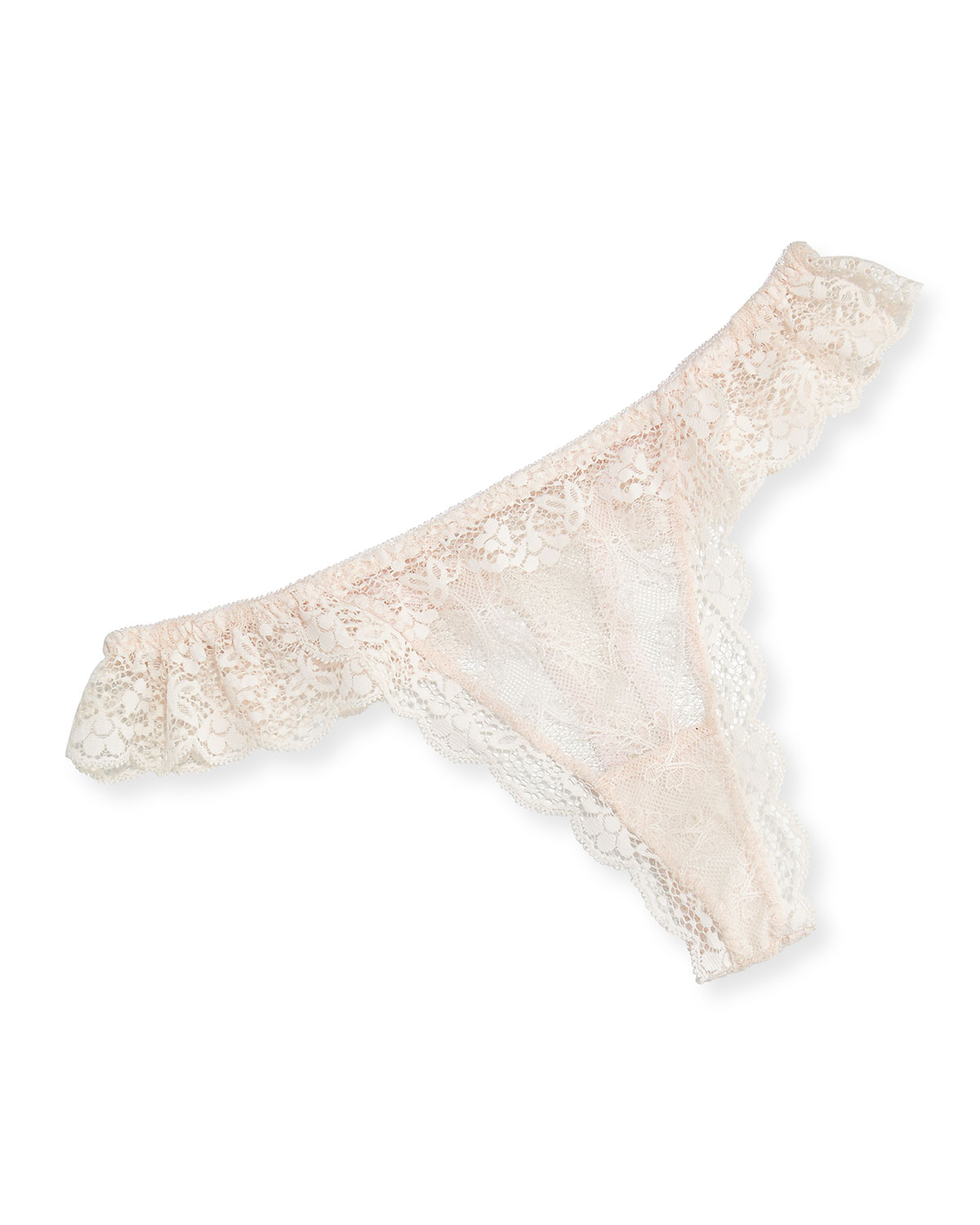 Kiss the Bride Ruffled Thong, Pink